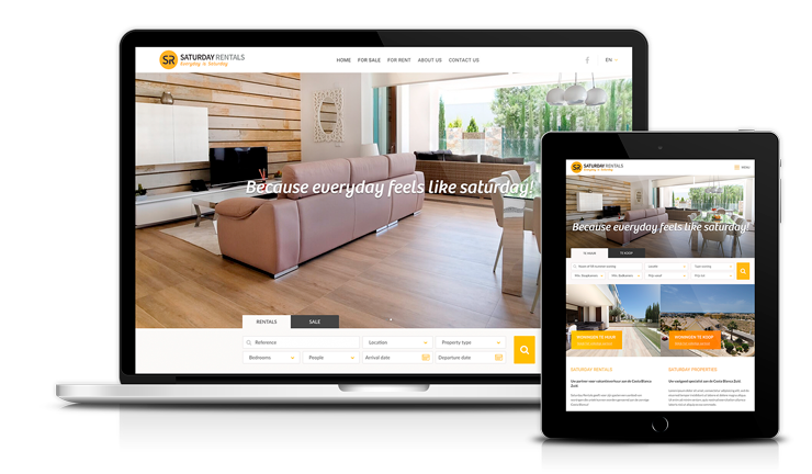 Diseño web adaptable para Saturday Rentals holiday homes