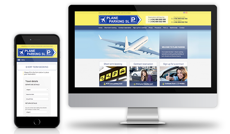 Diseño web adaptable para Plane Parking, Alicante airport parking